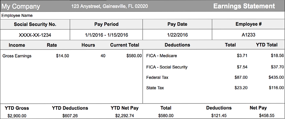payroll pay stub
